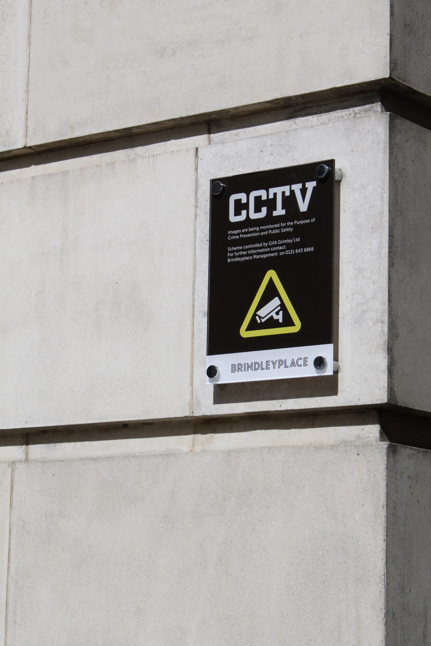 Brindley-Place-CCTV-signage-wall-mounted-Concept-Group