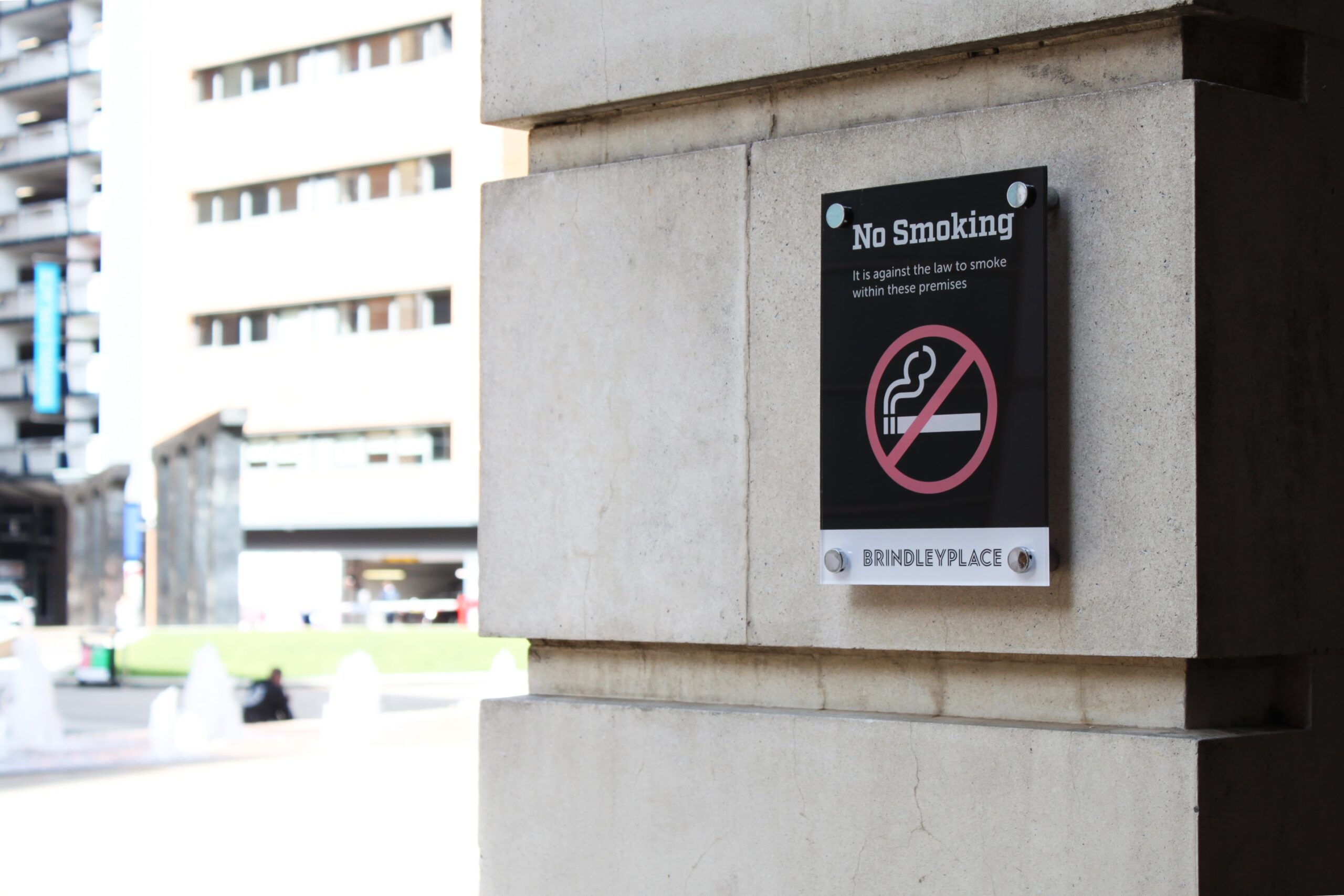 Brindley-Place-No-smoking-wall-mounted-sign-Concept-Group